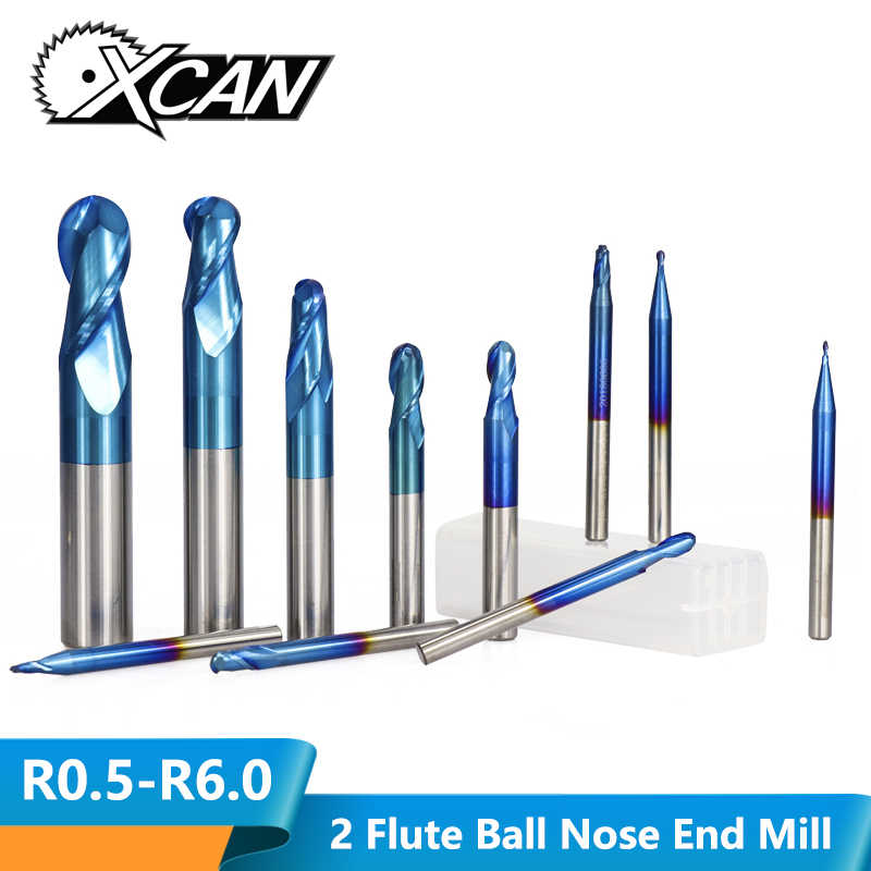 XCAN 1pc R0.5-6.0 Ball Nose End Mill Tungsten Carbide CNC Router Bit 2 Flutes HRC50 Nano Blue Coated End Milling Cutter