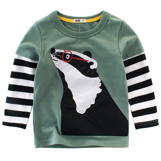Kids T-shirts For Boys O-neck Cartoon Pattern Children T Shirts For Boy Long Sleeve Tops Spring Cotton Tshirts Summer 2018