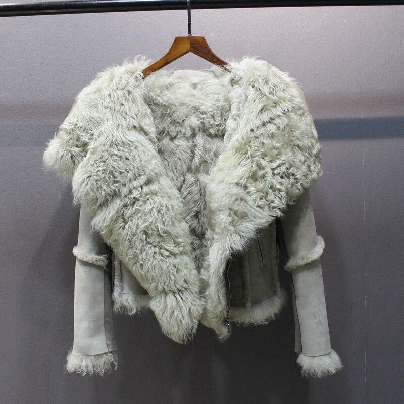 2019 new slim female genuine sheepskin coats leather women s winter jacket turn down collar long