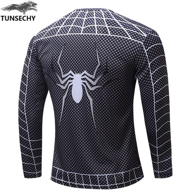 TUNSECHY NEW Marvel Super Heroes Avenger Batman T shirt Men Compression  Base Layer Long Sleeve Thermal Under Top Fitness