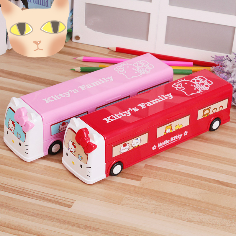 Primary and Secondary School Students Creative Fun Bus Pencil Case Children Three-layer High Quality Plastic Pencil Case 400 have 24 colours wholesale korean fashion pu zipper primary and secondary school students backpack 20171201