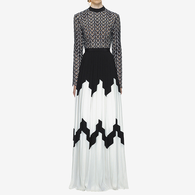 0b2508ad209c7 US $79.99 |Aliexpress.com : Buy HIGH QUALITY Newest Stylish 2019 Designer  Maxi Dress Women's Long Sleeve Hollow Out Lace Embroidery Patchwork Pleated  ...