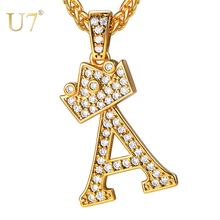 Ожерелье и подвеска u7 bling crown initial с 26 буквами от a
