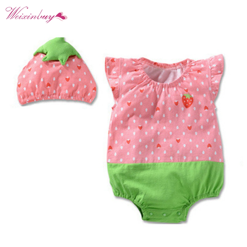 Baby Girls Summer Sleeveless Jumpsuits Clothing Sets Infant Clothes Babies Rompers (Romper+Hat 2 pcs)
