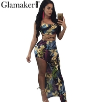 Glamaker Floral Printed Halter Long Dress Women Lace Up Two Piece Beach Dress Sexy Backless Split
