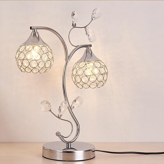 YOOK LED lampe de Table lampe de Table en cristal chambre à coucher pour tête de lit lampe de Table en fer E14 110 V 220 V