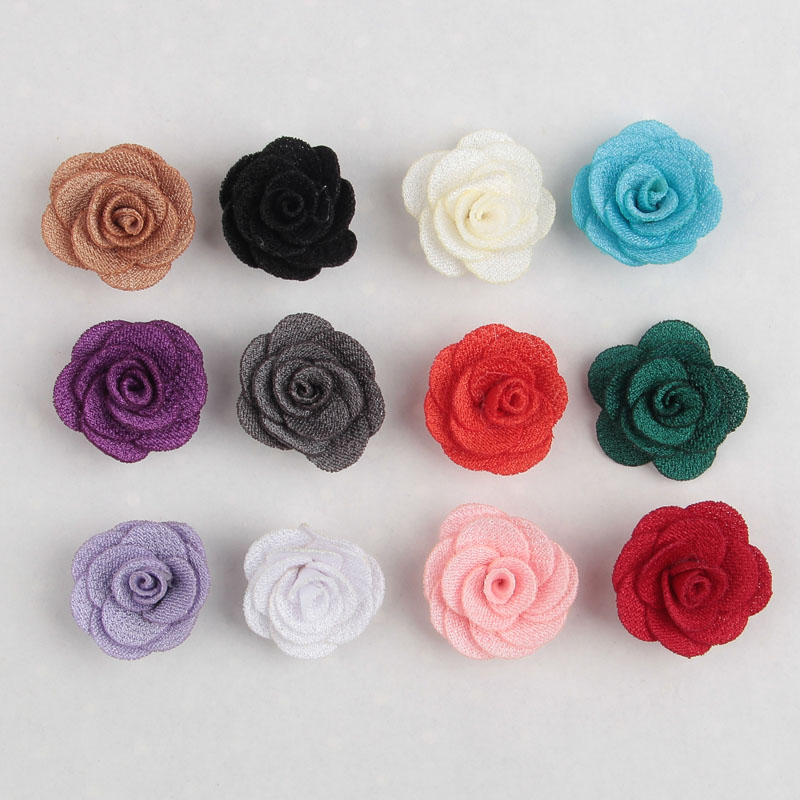 Yundfly 10pcs 1.5cm Mini Felt Rose Flower For Hair Accessories Artificial Ruffled Fabric Rose Flowers For Baby Headbands