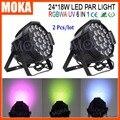 2 PÇS/LOTE Stgae Iluminação Dj 24x18 W 6 In1 RGBWA + UV Interior DMX512 Levou Par 64
