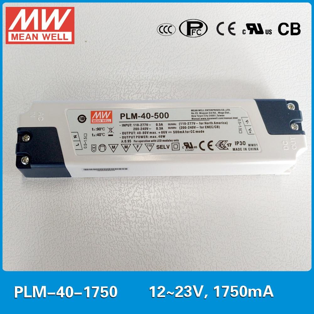 где купить Original MEAN WELL PFC LED power supply PLM-40-1750 40W 1750mA 12~23V with three-step analog dimming input 110~295VAC по лучшей цене
