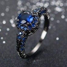 Moda Azul Zafiro Joyería Llenada Oro Femenina Anillo de Bodas Band Negro Promesa Anillos de Compromiso Para Las Mujeres Bague Femme RB0034