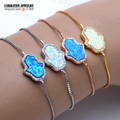 Lucky Synthetic Opal Blue and White Hamsa Hand of Fatima Real 925 Sterling Silver Box Chain Bracelet