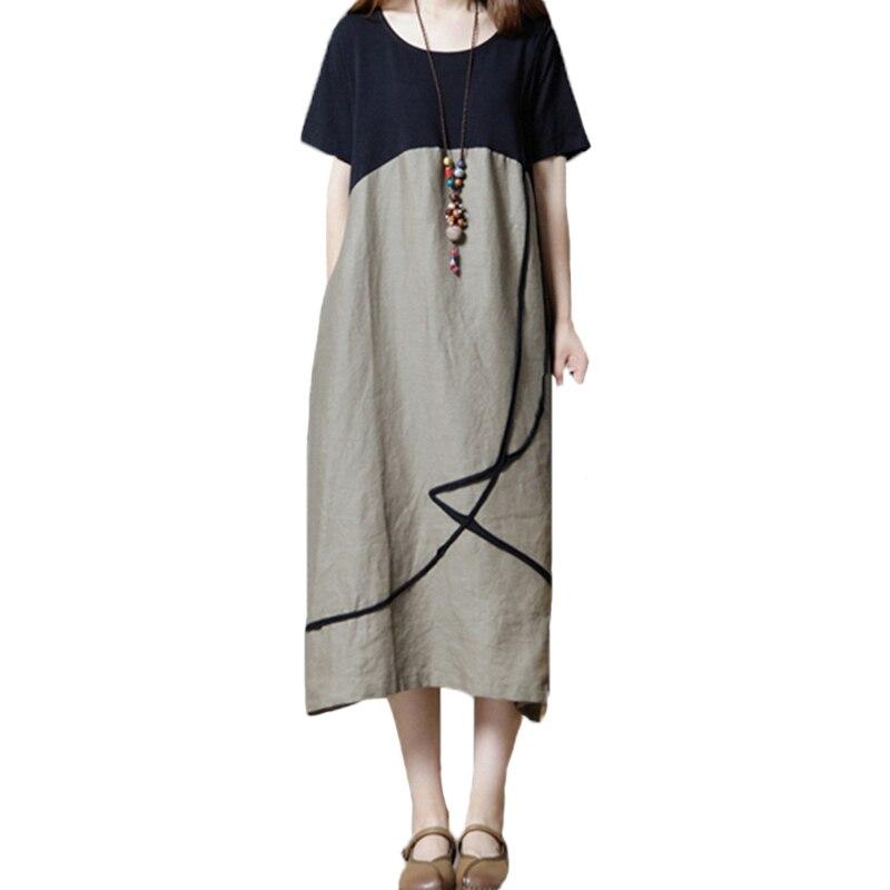 HENGSONG Women summer casual loose dress short sleeve o neck patchwork color block big size dress female elegant holiday dress