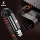 BASEUS Led Light USB Cable for iPhone X 8 7 Plus Fast Charging Charger Cable Mobile Phone Data Cable For iPod i Pad