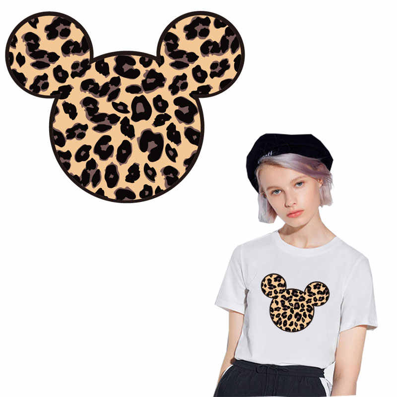fashion patches leopard print mouse iron on patches for clothing heat transfer stickers for clothes decoration diy parches ropa