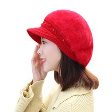 Hot Sale Warm Winter Hats for Wome Wool Knitted Beret Female Caps Faux Rabbit Fur High Quality Braided Hats Cap Bonnet Femme Nov(China)