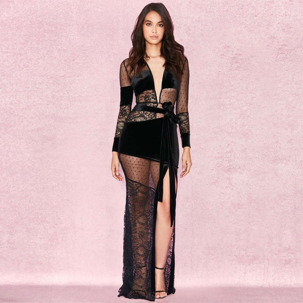 V Neck Bandage Dress Sexy Black Lace Low Bosom Nightclub Party Women Summer Long Dresses