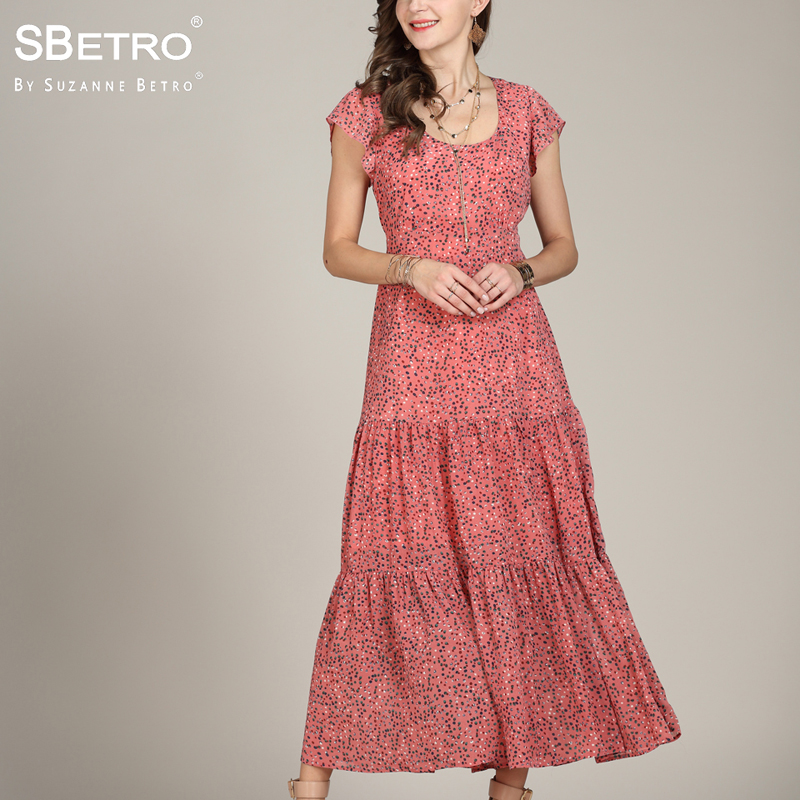 0ec9330170d SBetro Floral Print Maxi Dress Ladies Scoopneck Flutter Sleeve Tier Max 3XL  Fashion Casual Summer Women