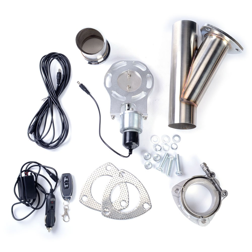 2.5 Inch Electric Exhaust Cutout Stainless Steel Headers Y pipe Cut Out Dump Valve Switch With Remote Control High Quality tansky high quality 2 inch inch piping switch electric 2 inch exhaust dumps cutout stainless steel cutouts tk cutout02