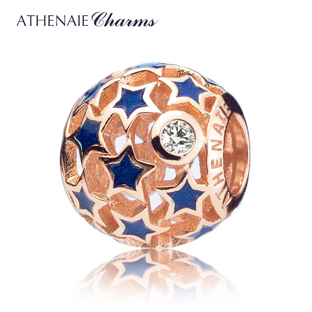 ATHENAIE Genuine 925 Sterling Silver Starry Night Openwork Enamel Charms Beads Fit All European Bracelets Necklace Fine Jewelry