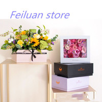 New hot sale 1pcs 22x22x9cm black color Square hand gift flower box transparent PVC beautiful window gift wrapping paper box