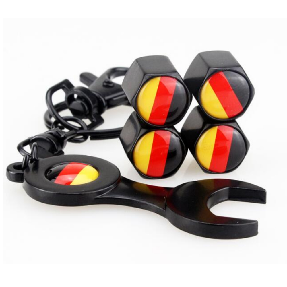 4pcs Germany Flag Logo Wheel <font><b>Valve</b></font> Stems <font><b>Caps</b></font> & Wrench Decoration for <font><b>BMW</b></font> X1 X3 X5 1series 3series 5series 7series ///M Series image