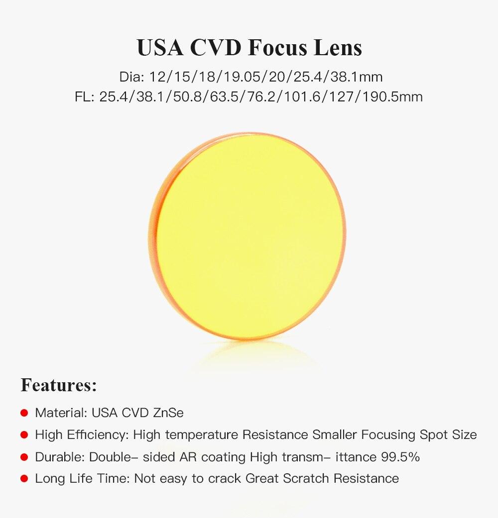 Di/á 18mm F 190.5mm TEN-HIGH Lente focal Lentes laser CO2 Lentes para laser ZnSe Para L/áser M/áquina CO2 de Corte y de Grabado L/áser