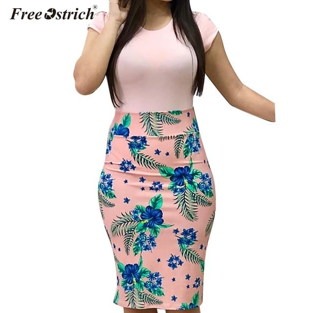 Free Ostrich Summer Dress Women Plus Size Sexy Vintage Elegant Floral Pencil Dresses Print Women Dress Bodycon Vestidos N30