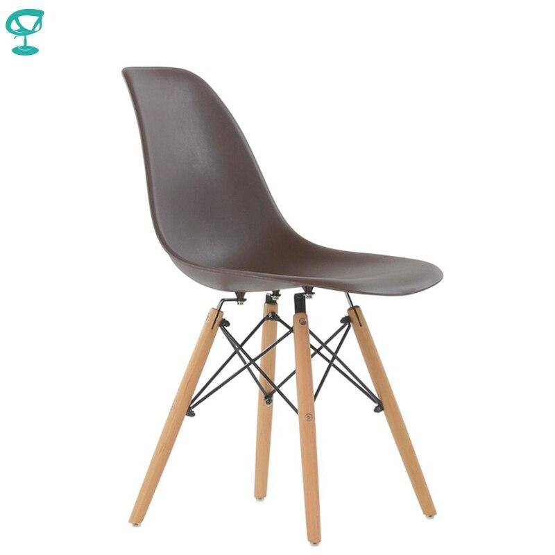 95211 Barneo N 12 пластиковый кухонный коричневый стул на деревянном основании интерьерный стул мебель для кухни стул столовый стул столовый стул кухонный стул для дачи стул в гостиную стул современный стул для лофта