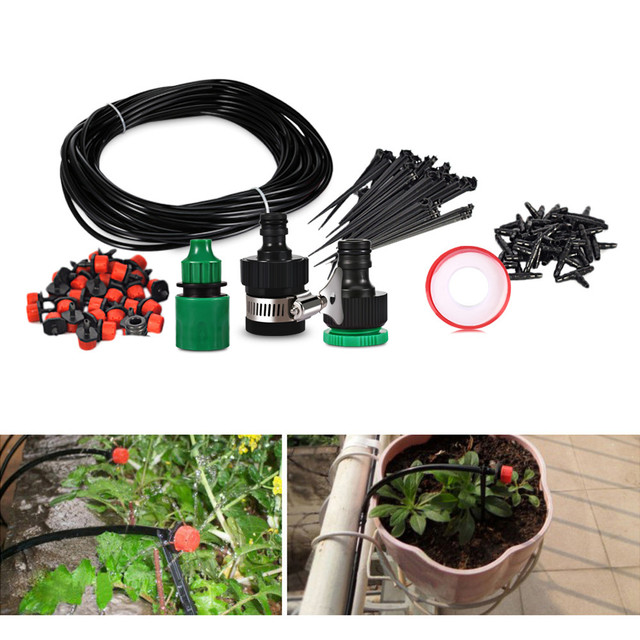 25m Hose 30 Dripper Drip Irrigation System Diy Automatic Watering