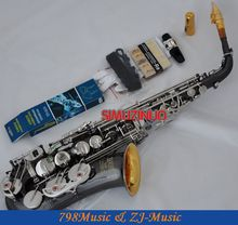 Black Nickel Silver and Gold Bell Eb Alto Saxophone High F# Key-Abalone Bottons