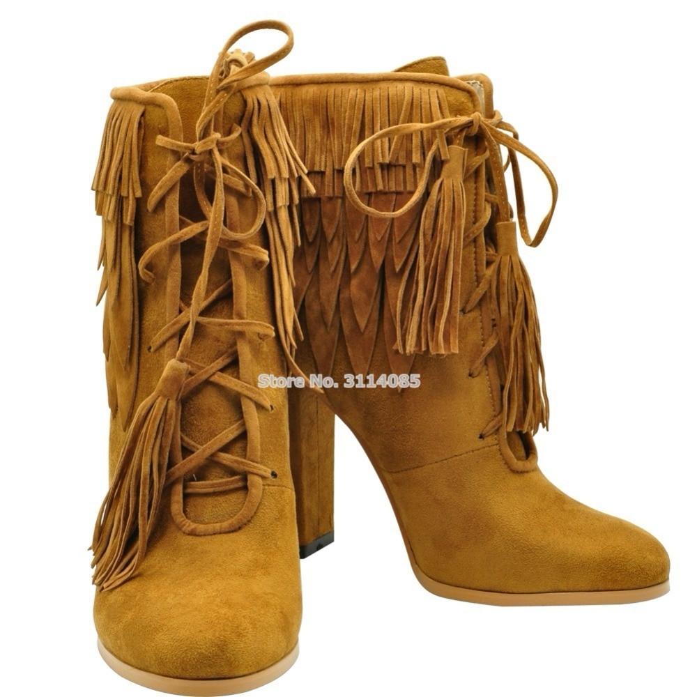 Picture Zapatos Gamuza Mujeres Tacón Picture Otoño Invierno Borla Tacones De Grueso Las Marrón as As Botas Gruesos Sandalias Encaje 1OUxdw