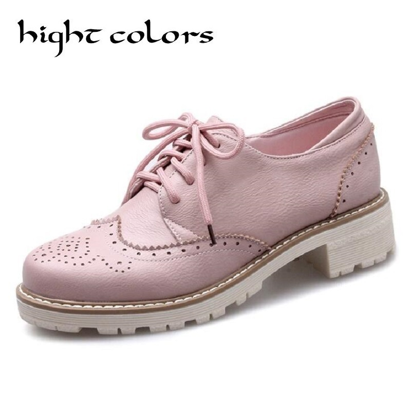 d2d96d8790 New Round Toe Sweet Simple Carving Casual Comfortable Flat Platform ...