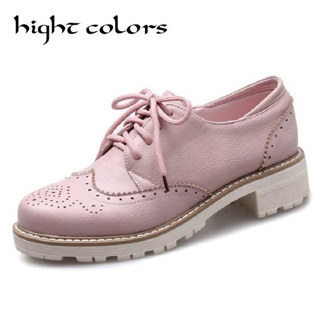 New Round Toe Sweet Simple Carving Casual Comfortable Flat Platform Shoes  For Girls School Oxford Shoes 9062f45f985e