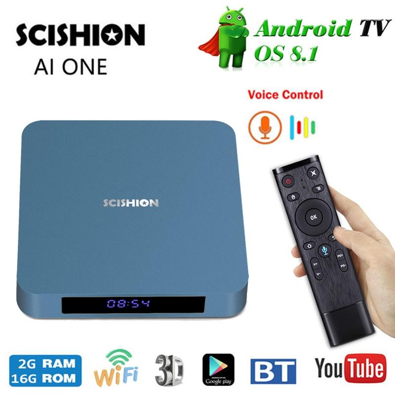 SCISHION AI ONE Android 8.1 Smart TV Box Rockchip 3328 2GB RAM16GB ROM 2.4G WiFi USB3.0 BT4.0 Set Top Box With Voice Control цены онлайн