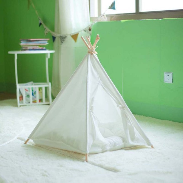 Pure white pet dog/cat play tent play house with 100% cotton fabric with & Pure white pet dog/cat play tent play house with 100% cotton ...