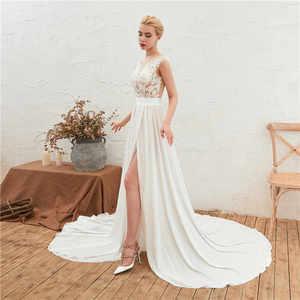 Image 4 - 2019 חוף חתונת שמלת תחרה Boho כלה שמלה שווי שרוולי סדק צד קו שיפון חתונת שמלת Vestido דה Noiva חלוק דה Mariee