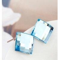 Azul cristal austriaco Plaza Pendientes de broche mujeres joyas de rodio plateado piercing oreja Pendientes moda al por mayor pendiente simple