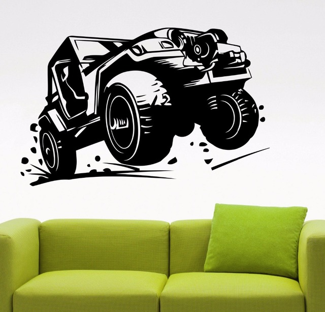 Classic Suv Off Road Car Wall Decal Vinyl Stickers Living Boys Room ...