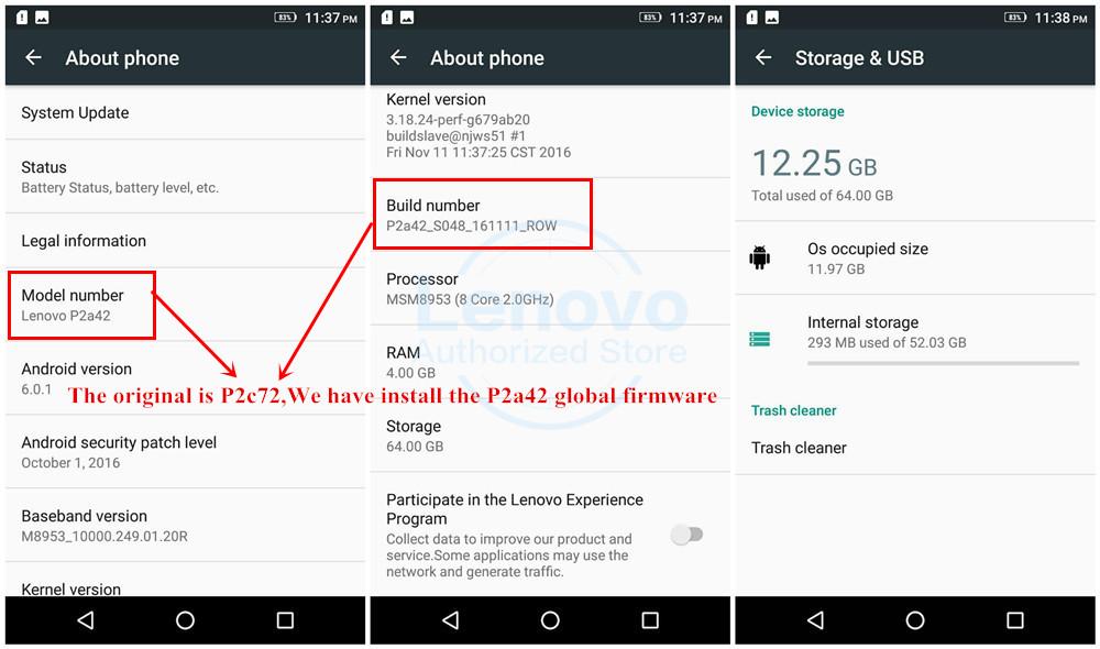 Lenovo vibe P2 details