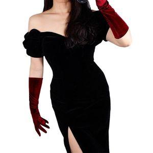 Image 5 - 40cm Velour Gloves Long Section Wine Red Dark Red Female High Elastic Swan Velvet Gold Velour Touchscreen Woman WSR04