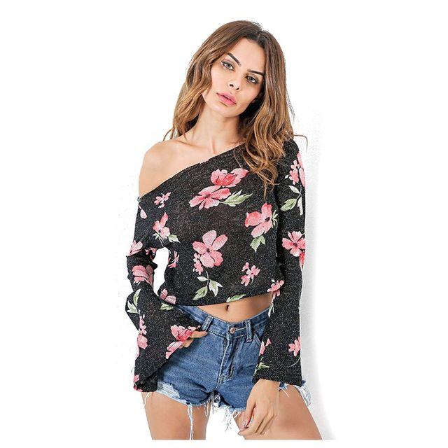 Womens Casual Tees Spring Autumn T Shirt Sexy One Shoulder Loose Long Flare Sleeve Ruffles Women Tops Lady Print Short T-shirt