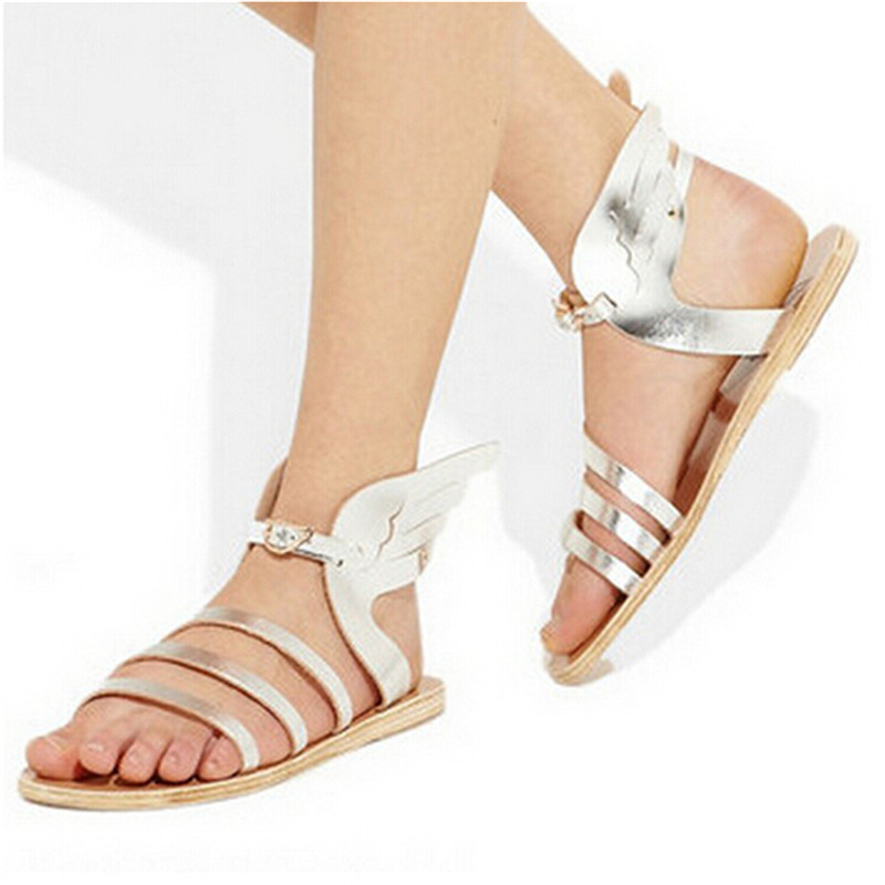 ФОТО Silver Black Gold Leather Butterfly Wings Greek Gladiator Sandals Women Casual Shoes Woman Flat Sandals Sandalias Mujer