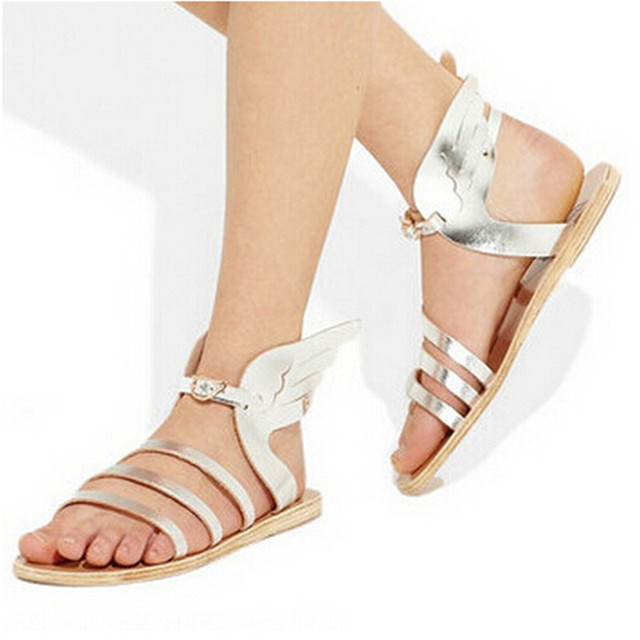 Silver Black Gold Leather Butterfly Wings Greek Gladiator Sandals Women  Casual Shoes Woman Flat Sandals Sandalias