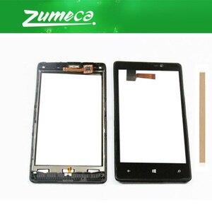 Без/с рамкой высокого качества 4,3 дюйма для Nokia Lumia 820 Nokia N820 сенсорный экран дигитайзер панель объектива Стекло черный цвет + лента