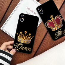 JAMULAR Luxury Crown Phone Case For iPhone XS MAX XR X 7 8 6 6s Plus King Queen Soft Couple Back Cover For Samsung S8 S10 Note8 luxury square leather for iphone xs max xr x xs 6 6s 7 8 plus fashion phone case for samsung s8 s9 s10 plus note10 pro note8 9