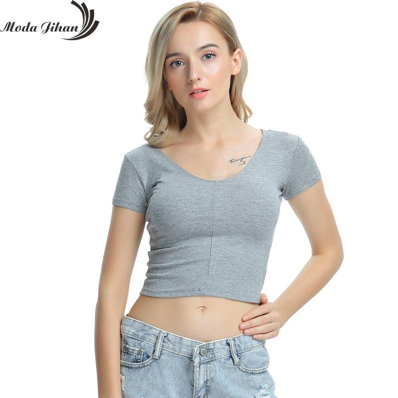 Moda Jihan Rib knit fabric V Neck Short Sleeve Women T shirt Crop Tops Tees Fashion Slim Simple ...