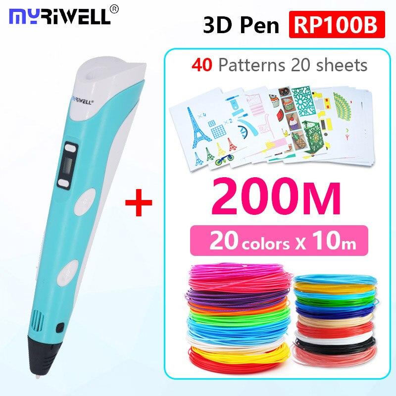 Myriwell 3d stylo v2 avec LED affichage 1.75mm abs filament pla 3d stylo 3d poignée 3 d stylo Intelligent enfant cadeau d'anniversaire Jouets abs en plastique