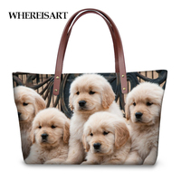 WHEREISART Bolsa Feminine Labrador Dog 3D Print Cute Women Handbags High Quality Shopping Top handle Bags for Lady Shoulder Bag