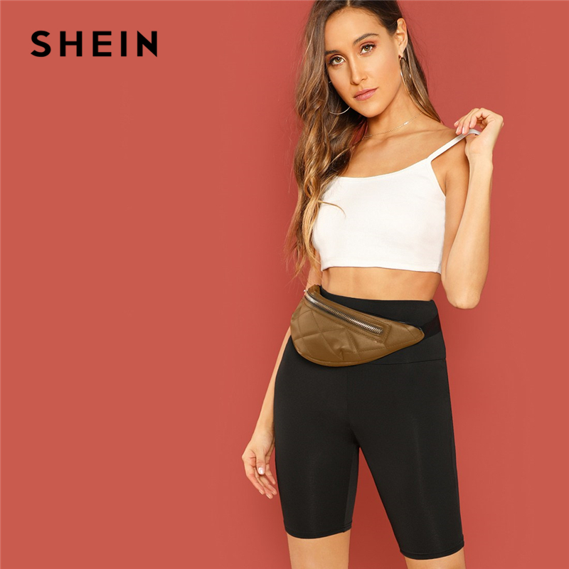 SHEIN Black Casual Solid Crop Wide Waistband Cycling Short   Leggings   Summer Modern Lady Women Pants Trousers