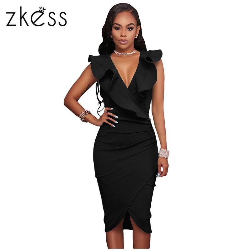 Zkess 2017 Ruffle V Neck Summer font b Dresses b font Casual Sexy Knee Length Bodycon